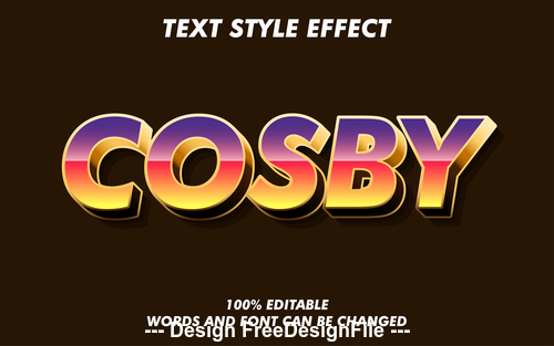 Cosby 3d font effect editable text vector