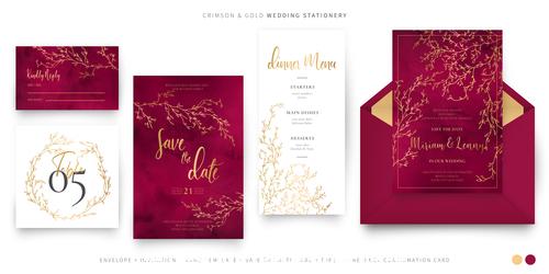 Crimson gold wedding stationery vector