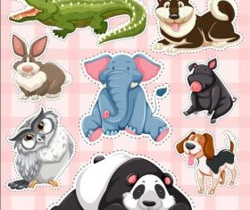 Crocodile rabbit panda other animal sticker vector