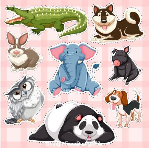 Crocodile rabbit panda other animal sticker vector