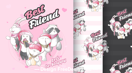 Cute animal cartoon background vector