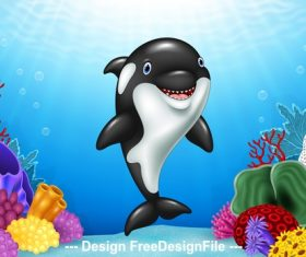 Cute dolphin cartoon illustration vector