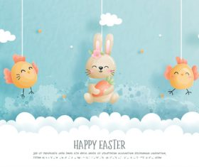Cute easter cartoon illustration vector