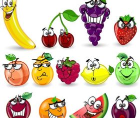 Cute fruit emoji vector