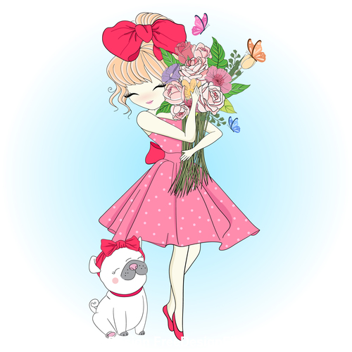 Cute girl with flowers cartoon illustration vector