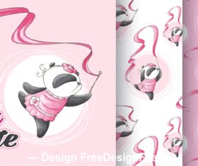 Dancing panda cartoon background vector
