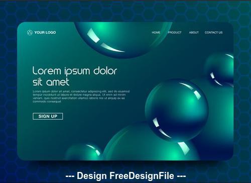 Dark green background landing page website vector design