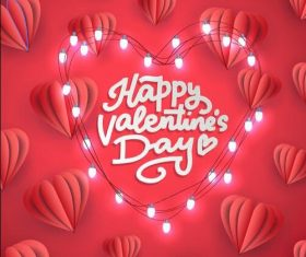 Decorative lights composition heart shaped Valentines day card vector