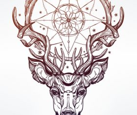 Deer hand drawn pattern vector