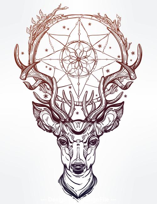 Deer hand drawn pattern vector