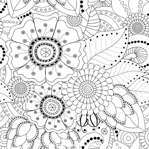 Delicate stick figures floral background pattern vector