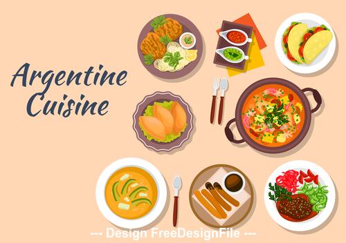 Delicious Argentine cuisine vector