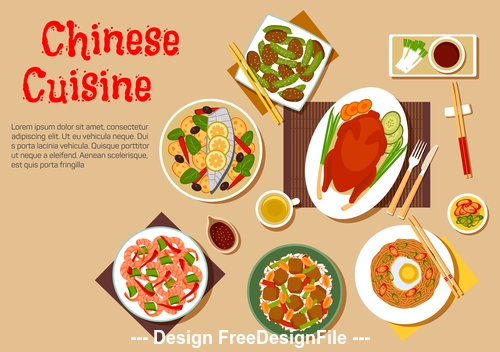 Delicious chinese food vector