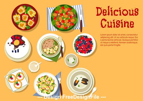 Delicious cuisine vector