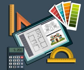 Design drawings and tools vector