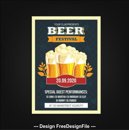 Design elements beer festival poster vector