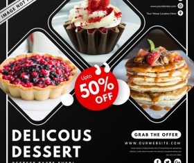 Dessert sale cover vector design template