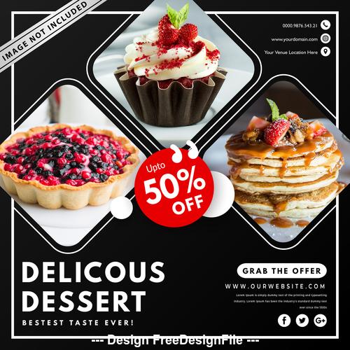 Dessert sale cover vector design template