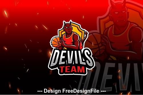Devils basket team esport logo vector