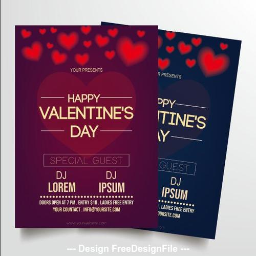 Different design elements for valentines day greeting card vector