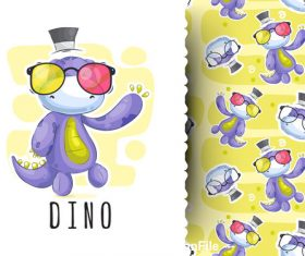 Dino cartoon background pattern vector