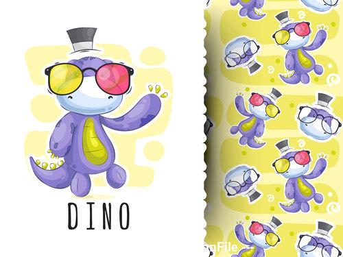 Dino cartoon background pattern vector