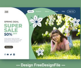 Discount design landing page vector