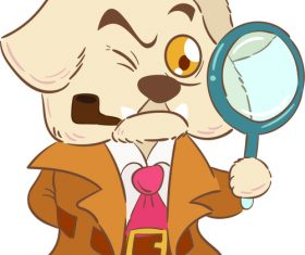 Dog detective cartoon illustration vector