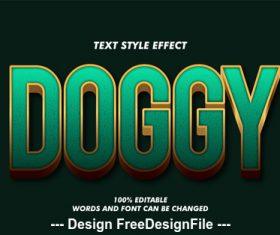 Doggy 3d font effect editable text vector