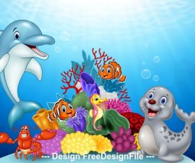 Dolphin and sea lion cartoon illustration vector
