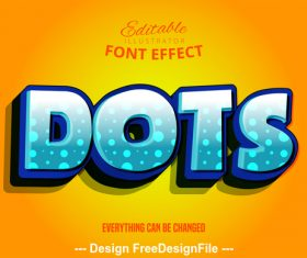 Dots 3d font effect editable text vector