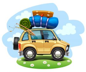 Driving trip cartoon vector