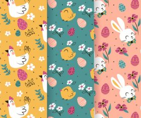Easter animal pattern banner vector