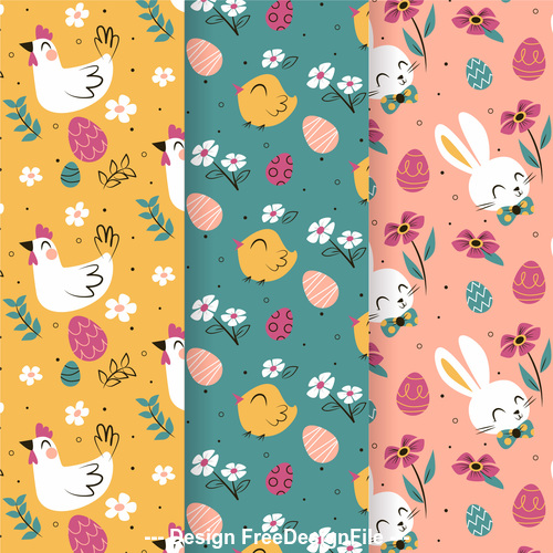 Easter animal pattern banner vector