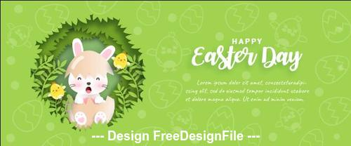 Easter banner on green background vector