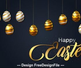 Easter black background card vector