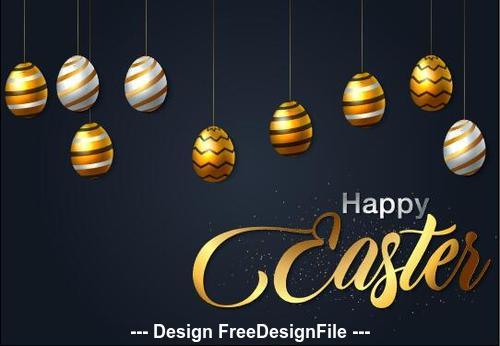 Easter black background card vector