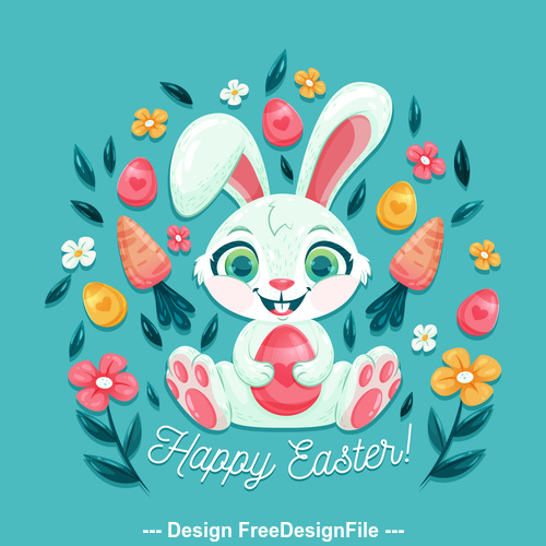 Easter bunny and egg illustration vector