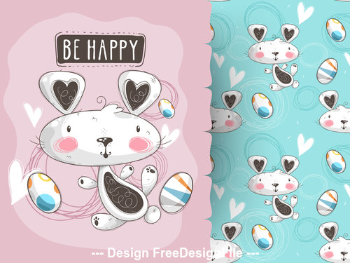 Easter bunny cartoon background pattern vector
