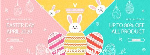 Easter day april 2020 banner template vector
