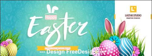 Easter day cover banner template vector
