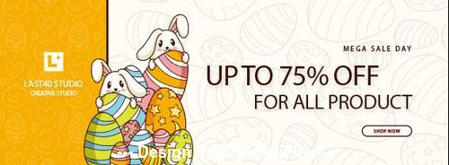 Easter day special sale banner template vector
