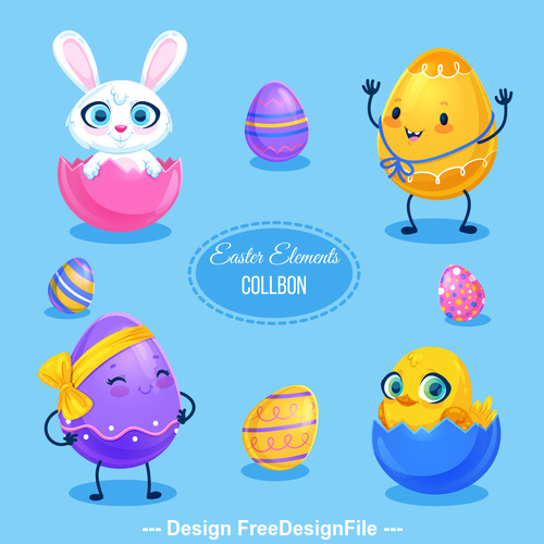 Easter egg design elements vector