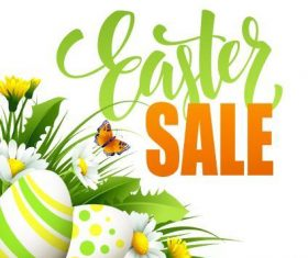 Easter eggs and flowers background sale cover vector