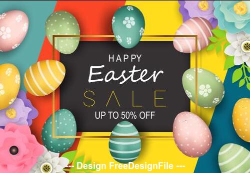 Easter eggs and flowers colorful background vector