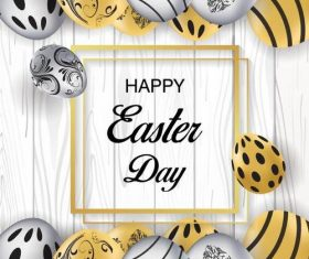 Easter eggs and frame background vector