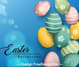 Easter eggs on blue background vector