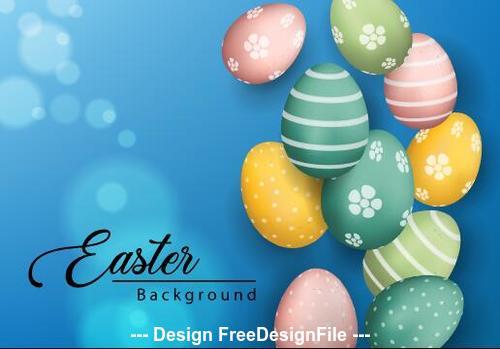 Easter eggs on blue background vector