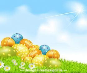 Easter eggs on clear sky grass vector