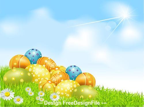 Easter eggs on clear sky grass vector